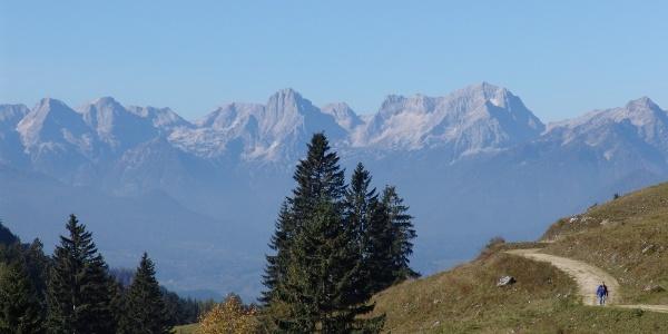 Ein Blick ins Tote Gebirge eröffnet sich bei der Hanslalm