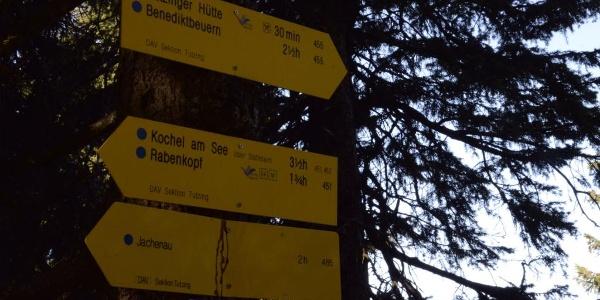 Am Kochler Eck geht es weiter in Richtung Rabenkopf.
