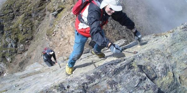 Kletterei an plattigem Aufschwung