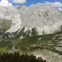 Blick Sonntagkarspitze, Rosskopf und Pfeishütte.