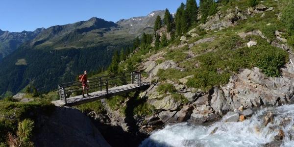 Die letzten Meter zur Kasseler Hütte verlaufen auf schönem Wanderweg durch wilde Natur.