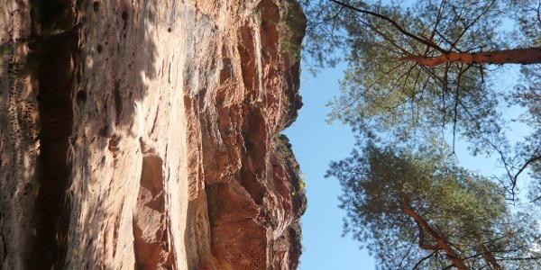 Steile Wand der Retschelsfelsen.