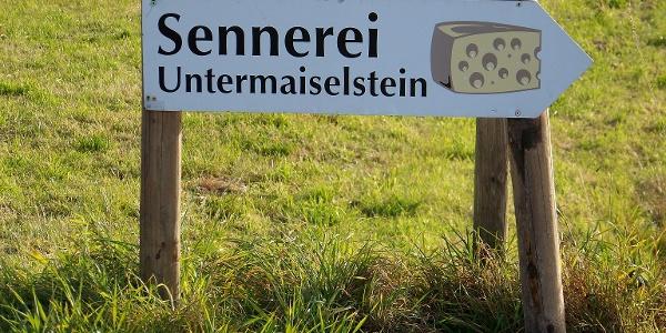 Wegweiser zur Sennerei Untermaiselstein.