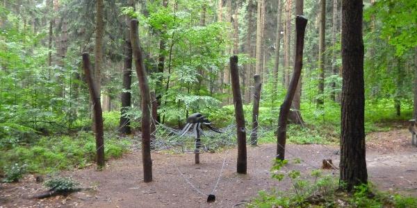 Waldspielplatz mit Kletternetz