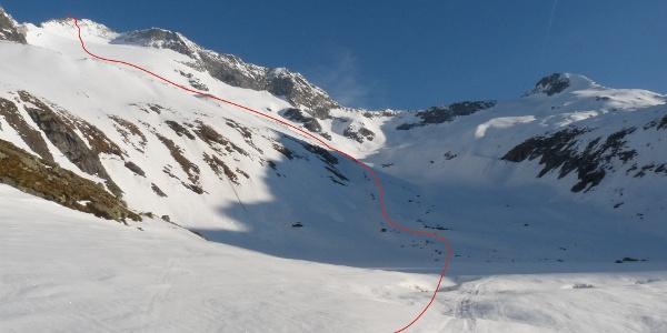 Vom Großen Moosboden ist der Anstieg bis zum Gipfel bereits gut einsehbar.