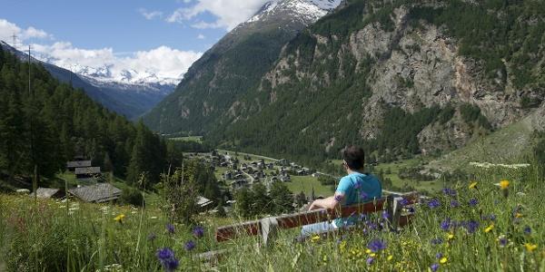 Sommerliche Landschaft mit Ausblick auf das Dorf Randa
