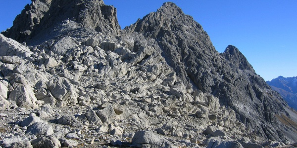 Blick zum Einstieg des Arlberger Klettersteiges.
