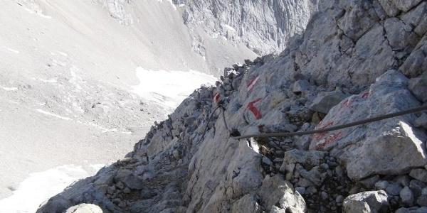 Blick zurück vom Ausstieg des versicherten Steigs