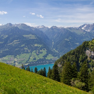 Views of the lake and surrounding mountains on the climb