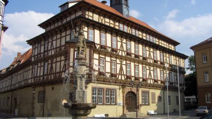 Ein Höhepunkt der Altstadt von Vacha ist das 1613 erbaute Rathaus.