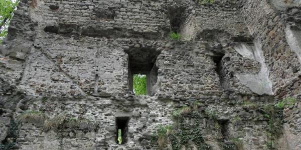 Deutlich zu erkennen sind die ehemals vier Geschosse des Wohnturms der Ruine Kargegg