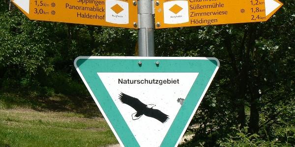Wegweiser zu den Churfirsten (nach rechts).