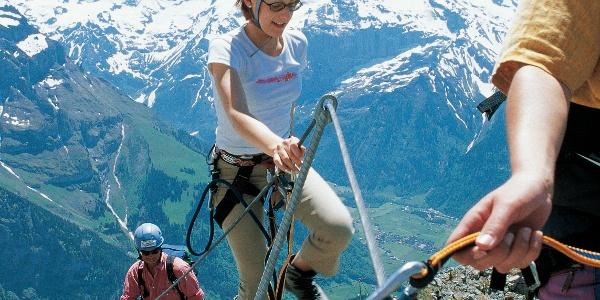 Im Rigidalstock-Klettersteig hoch über Engelberg