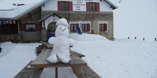 Unser Stützpunkt, die Brancahütte, bei der Ankunft