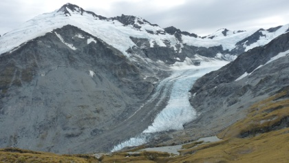 Blick auf den Dart-Gletscher vom Cascade Saddle