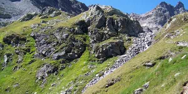 Erstes Grün beim Abstieg ins Klostertal.