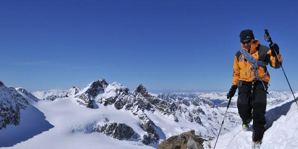 Piz Buin, Blick zum Silvrettahorn