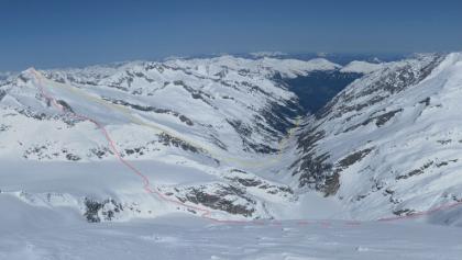 Tourverlauf zur Schlieferspitze (Standpunkt Großer Geiger)