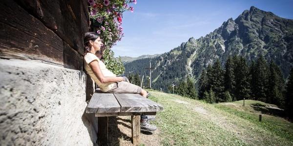Rast bei der Rongg Alpe in Gargellen