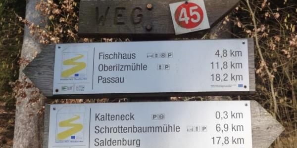 Goldsteigmarkierung kurz nach Kalteneck