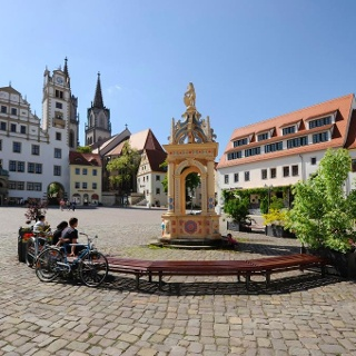 Rast auf dem Oschatzer Marktplatz