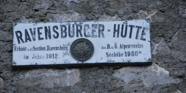 Altes Schild an der Ravensburger Hütte