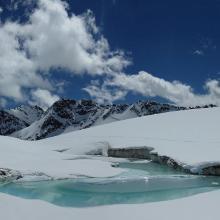 Gletschertor am Goldbergsee nach der Fellabfahrt von der Rojacherhütte