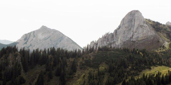Scheinbergspitze und Hasentalkopf vom Bäckeralmsattel gesehen