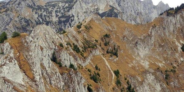 Blick zurück auf den Steig durch die Felsen zum Gipfel. Im Hintergrund die Ammergauer Hochplatte.