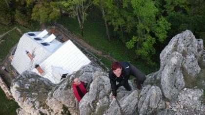 Blick vom Turmstein auf die Hütte