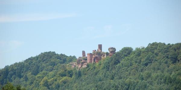 Panoramblick auf das Burgenmassiv Alt-Dahn vom Kahlenberg