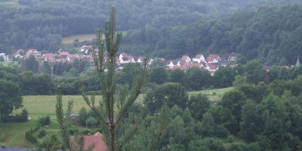 Blick vom Schuhfelsen auf Bruchweiler-Bärenbach