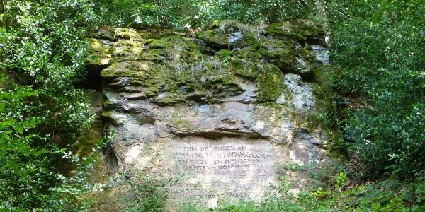 Felsinschrift zum Gedenken an den Komponisten Wilhelm Furtwängler