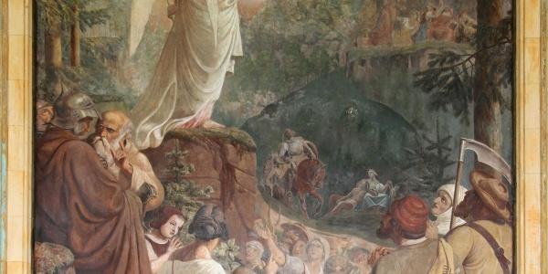 Die Engels- und die Teufelskanzel, Fresko in der Trinkhalle Baden-Baden