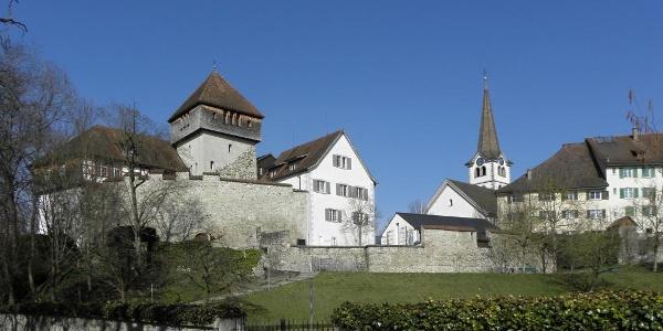 Die Burg Unterhof mit der Stadtkirche von Diessenhofen