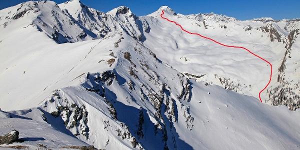 Das Lasörnkar mit der Aufstiegsroute zur Seemannwand