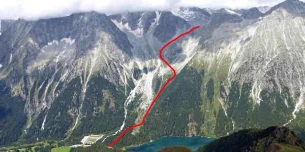 Der ungefähre Wegverlauf bis zur Riepenscharte gesehen von der Roten Wand