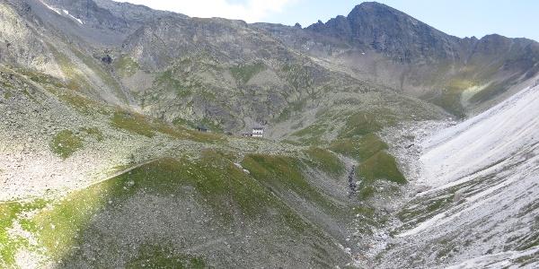 Das Felskar oberhalb der Einstiegsrinne