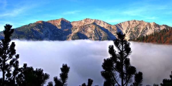 Eine dicke Nebelschicht hängt über dem Tal. Nach etwa einer Stunde bin ich über der Nebeldecke und kann das Massiv des Unnütz auf der anderen Seite sehen.