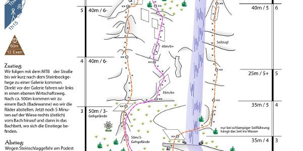 Pink 2015 Topo - auch mit den Routen Alpiner Spätaufsteher und Gebrochene Rippe