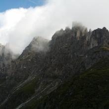 Elferkofel-Klettersteig Blick vor Beginn des Einstiegs aus südlicher Richtung