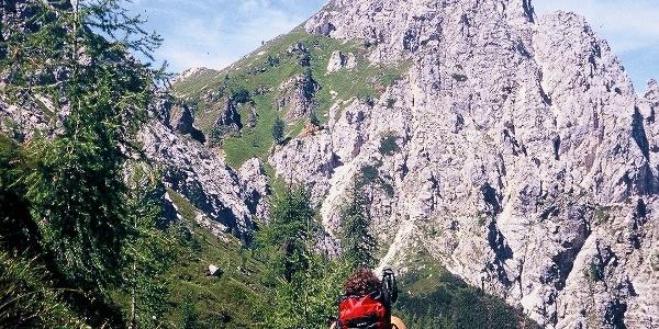 Sulla lunga diagonale verso forcella Franza con bella veduta sull'omonimo monte