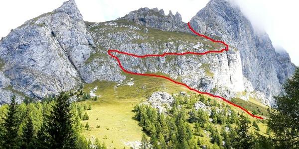 Il tracciato dell'antica via di guerra sul Coston Eynard