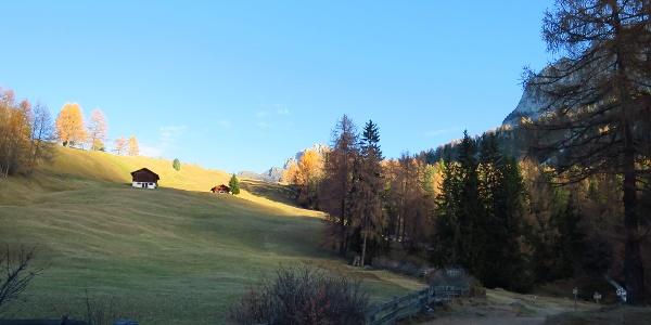 Start bei Daunei - kleiner Weiler oberhalb von Wolkenstein.