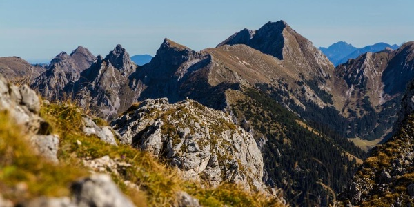 Bergtour - Hochplatte - Blick vom Säuling auf die Hochplatte