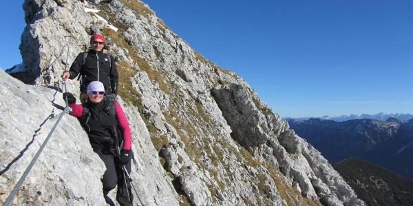 Bergtour - Hochplatte - Kletterpassage am Gipfelgrat