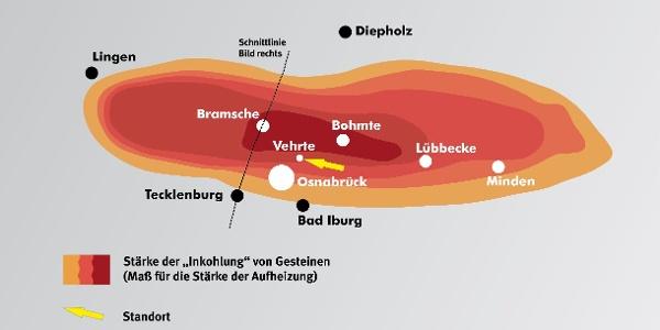 Fünf Kilometer unter dem Osnabrücker Land ist vermutlich vor Millionen von Jahren eine riesige Magmablase entstanden (Draufsicht).
