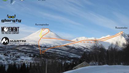 Kavringtinden - Rornestinden - Übersichtsfoto mit eingezeichneter Route