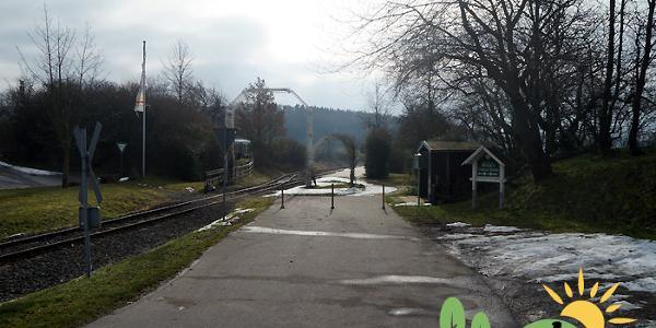 Startpunkt Endhaltestelle Vulkan-Express in Engeln