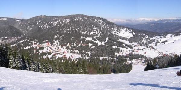 View from Vartop skiresort over Vartop Pass and Bihor Mountains